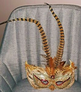 Vintage 1980s Gold Mardi Gras Mask Real Feathers, Wall Hanging