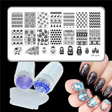 3pcs Born Pretty Feather Patterns Nail Art Stamp Image Plates w/ Stamper Scraper