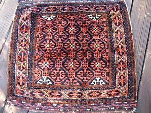ANTIQUE 1890-1900  BELUCH BAG FACE AMAZING  FULL PILE WITH GREAT COLORS