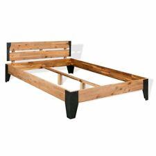 vidaXL Acaciahouten Bedframe Staal 140x200 cm Bed Frame Ledikant Bedframes