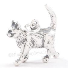 3D Kitty Cat Kitten Walking Charm Pendant 925 Sterling Silver Jewelry detailed!