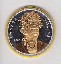 2007 Canada Proof Silver Dollar Chief Thayenda Selective Gold Plating