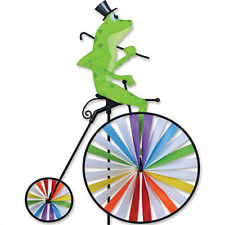 Frog on High Wheel Penny-Farthing Victorian Style Staked Wind Spinner Pr 26524