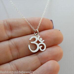 Li-Jacobs Silver Om Shanti Ohm Aum Symbol Charm Drop Yogi Yoga Buddha Pendant Necklace
