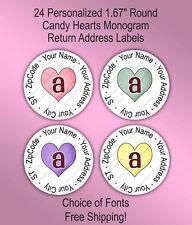 24 Custom Wedding Monogram Round Return Address Labels Seals ~ Candy Hearts
