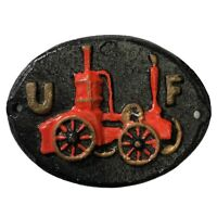 Vintage Cast Iron UF United Firefighter Insurance Steam Fire Engine Plaque Sign