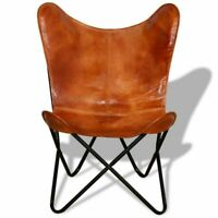 Butterfly Chair Tan Brown Real Leather Cover Lounge armchair by -IHA