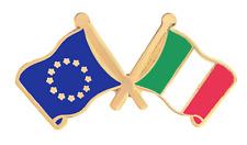 Italy & European Union EU Flag Friendship Courtesy Gold Plated Pin Badge