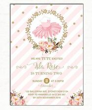 TUTU Invitation 1st First Birthday Party Invite Pink Gold Cute Ballerina Ballet