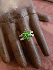 Flower Ring Cocktail Estate Sz 6 Sterling Silver Green And White Stones