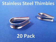 20 X THIMBLES 316 GRADE STAINLESS STEEL 3.0 to 3.2mm BALUSTRADE DECKING EYELETS