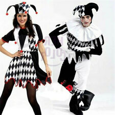 Harlequin Jester Clown Circus Costume & Hat Adult Funny Dress Suit