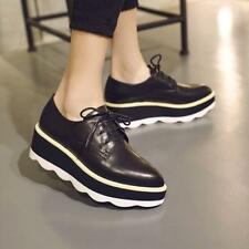 Womens Retro Pointy Toe Patent Leather Lace Up Wing Tip Wedge Heels Brogue Shoes