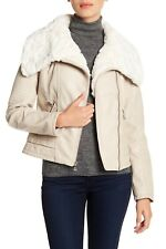 Guess Faux Fur Collar Faux Leather Moto Jacket In Stone Sz Large NWT $280