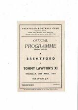 Brentford v Tommy Lawtons X1 Gaskell & Manley Testimonial Programme 1953/54