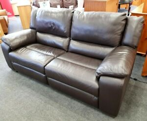 Finchley Brown Faux Leather 2 Seater Electric Recliner Sofa Couch - CS W38