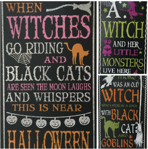 HALLOWEEN Witch Goblins Monsters Glitter Finish Wooden Sign Choose from 3 Design