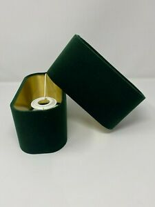 Rounded Rectangle Lampshade Forest Green Velvet Brushed Gold Metallic Lining