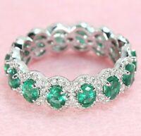 2.25 ctw Genuine Oval Cut Emerald & 0.78 ctw Diamond Halo Eternity Ring - 18k WG