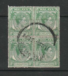 Singapore 1948/52 GV1 P 17.5 x 18, 8c Green Used block 4 SG 21A