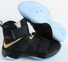 sports shoes a8c9d b584b NIKE iD ZOOM LEBRON SOLDIER 10 CHAMPIONSHIP BLACK GOLD SZ 13.5  885682-991