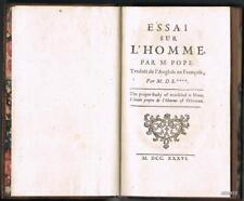 POPE ESSAI SUR L'HOMME 1736 Silhouette RARE