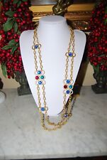 VINTAGE MONET JEWELS OF INDIA STYLE LONG GOLD TONED CHAIN & RHINESTONES NECKLACE