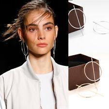Round Circle Silver Statement Minimalistic Geometric Stud Hoop Earrings UK Shop