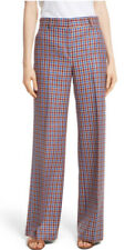 TORY BURCH Plaid Wide Leg Trousers- MULTI COLOR - SIZE: 2 - NEW