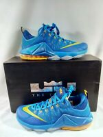 Size 11 Nike Mens Lebron XII Low Entourage Blue Gold Athletic Sneakers