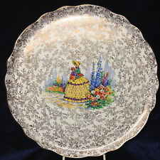 "JAMES KENT OLD FOLEY 3087 CRINOLINE LADY ROUND PLATE 10 7/8"" GOLD FLORAL"