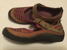 Clarks Privo 6.5 Leather Mary Jane Sport Comfort Brown Olive Burgundy Velcro