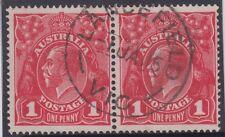 Postmark LANCEFIELD 1915 Victoria on pair 1d red KGV single watermark stamps