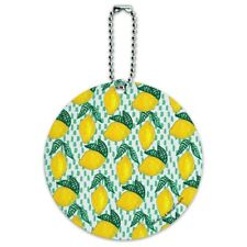 Lots of Lemons Pattern Round Luggage ID Tag Card Suitcase Carry-On