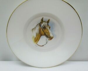"Heron Cross Pottery Stoke on Trent England Bone China 5"" Horse Gold Trim Plate"