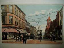 King Street Huddersfield Shows Tram Policeman & Horse Cart Old Postcard