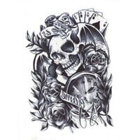 Skull Rosen Einmal Tattoo Totenkopf Temporary Temporäre Tattoo Body Sticker