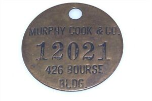 Vtg Murphy Cook & Co Charge Card Tag Bourse Bldg Phila 12021