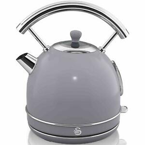 Swan 1.8 Litre Capacity Retro Dome Kettle, Rapid Boil/Automatic Switch Off, Grey