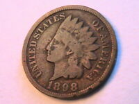 1898 Indian Head Cent Very Good (VG) Original Brown US Small Penny USA 1C Coin