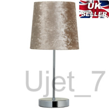 Beige Brown Crushed Velvet Table Lamp With Light Shade Chrome Deluxe Decoration