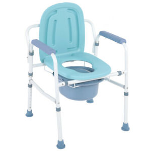 Height Adjustable Commode Chair Seat Backrest Mobility Aid Portable Back Support