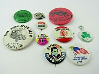 Lot of 10 Vintage Assorted Pin Back Buttons