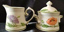 Vileroy & Boch China Amapola Pattern Sugar Bowl & Creamer Set Mint