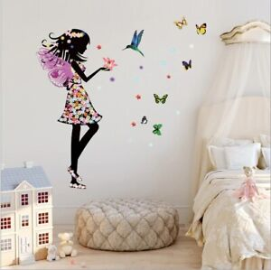 Beautiful Butterfly Elf Girl Bird Wall Sticker Living Room Home Mural Wall Decor