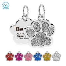 FREE ENGRAVING Dog ID / Cat ID Name Bling Tag Paw Personalized Puppy Pet ID Tags