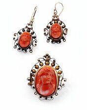 Amazing Antique 1850's Ox Blood Natural Color Coral Cameo Brooch & Earrings Set
