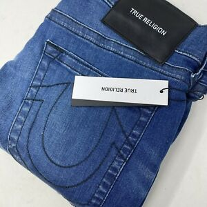 True Religion Men's Relaxed Skinny Rocco No Flap Dark Wash Denim Blue Jeans New