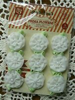 TRIXIE WHITE - 9 Fabric Flowers with Leaf and Pearl Centre 25mm PRIMA 16