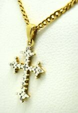 GENUINE DIAMONDS CROSS NECKLACE 10K YELLOW GOLD  *** New With tag ***